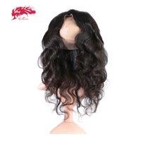 ali cabello humano al por mayor-Ali Queen Hair Brasileño Onda del cuerpo Pre Plucked 360 Lace Frontal con el pelo del bebé Virgin Hair Natural Natural Hairline Envío Gratis