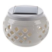 Wholesale ceramic table lights - Wholesale- White Led Ceramic Solar Filigree Patterns Table Light Garden Lamp (grid)-white