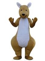 trajes de mascote de canguru venda por atacado-Um canguru trajes da mascote 100% imagem real adultos natalina Halloween Outfit Fancy Dress Suit Frete Grátis