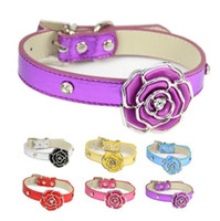 Wholesale collar necklace free shipping online - high quanlity pets collar color dog cat rose collar adjustable PU flat belt with crystal pet necklace pets supplies free ship
