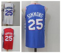 Wholesale Ben Shirt - #25 Ben Simmons Men's Basketball Jerseys 2018 New Season Fan version Fashion Jersey Blue White Red Size S-XXL Men polo shirt
