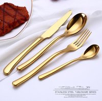 Wholesale dining forks - Stainless Steel Plated Cutlery Set 4pcs set Flatware Spoon Fork Knives Salad Fork Teaspoon Dining Dinnerware Dishes Set OOA5352