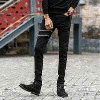 Wholesale Denim Jeans 27 - Men Skinny Jeans Stretch Zipped Straight Cotton Trousers Mid Waist Slim Fit Casual Jeans for Men Black 8028 Size 27-36