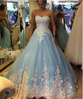 indisches hochzeitskleid plus größe großhandel-2019 Robe De Mariage Blau Ballkleid Brautkleider Mit Weißer Spitze Applique Vintage Indian Dubai Brautkleid Plus Size Herbst Garten Günstige 30