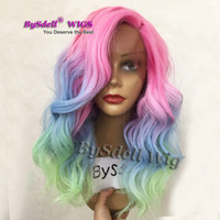 Wholesale Medium Length Hair Wigs - New Arrival Short Medium Length Loose Body Wave Lace Front Wig Colorful Mermaid Rainbow Hair Anime Cosplay Party Lace Front Wigs