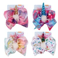 Wholesale accessories teenage girls resale online - 8 inch JOJO bow bowknot Unicorn baby girls Sequin hair bows horn barrettes Rainbow Clippers Hair Clips JOJO Hair Accessory Plush Hairpin New