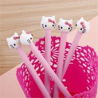 stylo kawaii rose achat en gros de-Bonjour kitty coréen papeterie dessin animé mignon kitty stylo publicité gilrs rose gel stylo école mode bureau kawaii approvisionnement