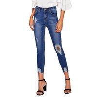 çamaşır suyu rahat toptan satış-Mavi Bleach Yıkama Sıkıntılı Kaya Denim Kot Kadın Rahat Yüksek Bel Düğme Fly Pantolon Ripped Skinny Jeans