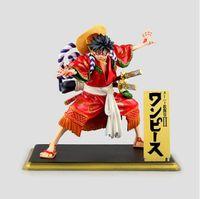 mano kimonos al por mayor-ONEPIECE Luffy kimono mano Kabuki Lufei negro regalo de cumpleaños anime modelo juguete adornos altura del producto 19cm
