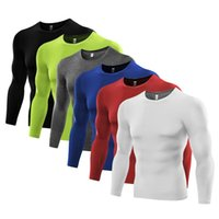base layer toptan satış-Toptan-Artı Boyutu Erkekler Sıkıştırma Baz Katman Sıkı Üst Gömlek Altında cilt Uzun Kollu T-shirt Tees Tops 6 Renkler ücretsiz kargo