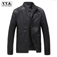 Wholesale Large Motor - Winter Fleece Lining Warm Mens Pu Leather Jacket Thick Warm Male Overcoat Large Size L-5XL Stand Color Motor Casaco Masculino