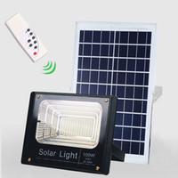 spot ışık cadde toptan satış-Güneş LED Işık Spotlight 40 W / 60 W / 100 W / 200 W Süper Parlak Güneş Enerjili Paneli Işıklandırmalı Su Geçirmez IP67 Sokak Lambası Uzaktan kumanda ile