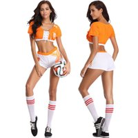 Wholesale Girls Sexy Costume - Sexy Cheerleader Uniform Soccer Football Fans Sports Player Costumes Girl fancy dress For World Cup LJJN3