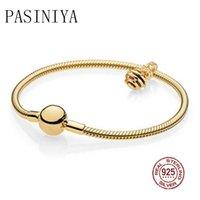 любовь на день рождения любовь оптовых-PASINIYA 100% 925 Sterling Silver  New Genuine 14K Gold Charm Sweet Love Bracelet Set For Birthday Holiday Gifts