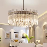 luces colgantes de araña de cristal redondo moderno al por mayor-Lámparas de cristal de lujo moderno ronda de cristal colgante lámparas de vidrio tubo de luz de techo para la sala de estar dormitorio decoración