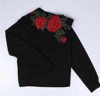 niñas negro sudadera al por mayor-Moda mujer niña Casual sudaderas con capucha negro Rose Flower Hooded Pullovers Sudaderas Tops