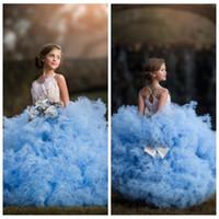 meninas pageant vestidos penas venda por atacado-2018 Novo Design Inchado Tule Vestido De Baile Meninas Pageant Vestidos de Penas Adornadas Frisado Arco Macio Em Camadas de Vestidos de Meninas Vestidos Para As Crianças Do Partido Vestidos