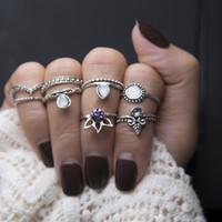 Wholesale v ring silver online - 8pcs set Gemstone V Shaped Knuckle Ring Midi Finger Tip Rings Women Engagemen Rings Luxury Jewelry Mens Wedding Rings Bague