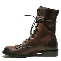 Wholesale british style flat shoe women for sale - Group buy Tassel Vintage Martin Boots British Style Genuine leather Warm Snow Boots Winter Half Shoes