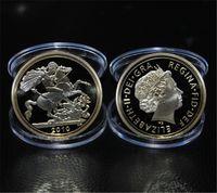 24k полный золотой бесплатная доставка оптовых-Бесплатная доставка 10 шт. / лот, 2010 британский Королевский монетный двор St George Gold Proof полный суверенной монеты, 24 к позолоченные памятные монеты