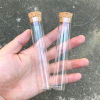 tubes à essai flacons en liège achat en gros de-22 * 120mm 30ml verre vide transparent Bouteilles clair avec Bouchonnières verre Fioles Pots Flacons en Jars Test Tube 50pcs / lot