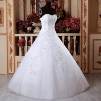 Wholesale line wedding dress black diamonds for sale - Group buy White ivory A Line Bride wedding Dresses Diamond Bridal lace Gown Full Length Dress Applique hand made For Formal Occasion