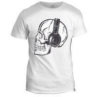 череп для наушников оптовых-Dj Skeleton Tumblr Skull Headphone Вдохновленный байкер на мотоцикле Музыка Футболка смерти