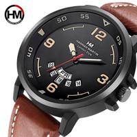 Wholesale big leather watches men resale online - New Leather Strap Mens Watches Fashion Quartz Double Calendar Waterproof Wristwatch Big Dial Sport Business Men Watch