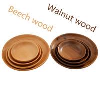vajilla de calidad al por mayor-Plato hecho a mano de madera del disco de la placa de madera de haya de la nuez negra de alta calidad de las placas de la alta calidad para los regalos diarios del uso