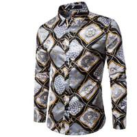 ingrosso vestito trading-Nuovo 2018 Moda autunno inverno personalità del commercio estero stampa uomini camicia a maniche lunghe Club camicia europea maschio camicie