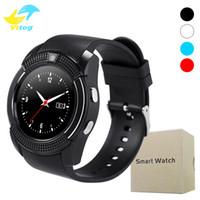 v8 uhr kamera großhandel-V8 Smart Watch Unterstützung Sim TF-Kartensteckplatz Bluetooth Uhr mit 0,3 M Kamera MTK6261D Smart Watch für iOS Android Phone Watch