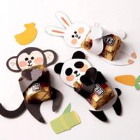 verzieren süßigkeiten-box großhandel-Süßigkeit-Abdeckungs-Affe-Panda-Kaninchen-Kindergeburtstags-Hochzeits-Schokolade verzieren Weihnachtsgeschenk-Gebrauch Freies Verschiffen ZA6980