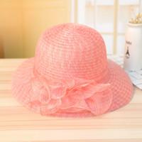 elegante sommerhüte großhandel-Elegante Mode Frauen Hüte Für Damen Sommer Blume Hut Sommer Gorras Sonnenhut Breiter Krempe Beach Cap Gaze Verzieren 11 8cc Y