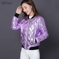 Wholesale thick metal collar for sale - Group buy 2018 New Winter Satnd Collar Purple Silver Black Gold Metal Color Down Cotton padded Coats Women Fashion Bright Short Parkas
