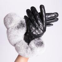 guantes de piel de conejo real al por mayor-MPPM Real Rex Guantes de piel de conejo Mujeres Guantes de cuero genuino para invierno Manoplas de moda con pantalla táctil
