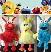 Wholesale plush birds online - 45cm Cartoon Sesame Street Plush Backpack Elmo Monster Cookie Bird Guy Big Shoulder bag Schoolbag for Boys and Girls Gifts KKA6162