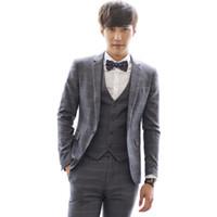 blouses tuxedo v cou achat en gros de-2016 Nouvelle Arrivée Hommes Costumes Veste Slim Personnalisé Fit Tuxedo V-cou De Mode D'affaires Robe Plaid De Mariage Costumes Blazer S-2XL 155