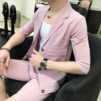 chemise noire pantalon gris achat en gros de-loldeal 3 couleurs 2pc set chemise et short rose gris noir petite rayure hommes pantalon rayé ensemble décontracté