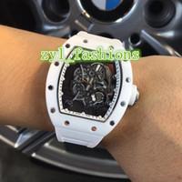 relógio oco branco venda por atacado-Top Quality Relógio de Luxo dos homens de Cerâmica Bezel Branco Pulseira De Borracha Assista Oco Relógio Mecânico Automático Frete Grátis