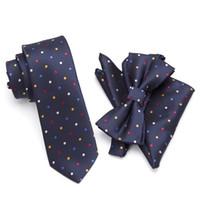 d1661a80034a 20 Style Neck Tie Bowtie Cravat Set,Skinny tie set, pocket square set,men  necktie,wedding ties,Polyester Black Dot fashion mens