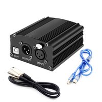 48v adapter großhandel-48V Phantomspeisung EU / US-Stecker 110V / 220V 1-Kanal-Versorgung + Adapter + Ein XLR-Audiokabel für jede Kondensatormikrofonaufnahme