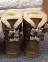 botas de nieve rhinestones al por mayor-2018Top calidad Australia WGG botas de nieve de las mujeres 2 bow rhinestones decorativos ante de algodón australiano botas de invierno botas de nieve botas al aire libre