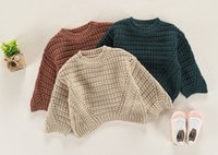 Wholesale Girls Crochet Wear - Spring Children chunky knited sweater 2018 girls boys hollow crochet leisure pullover out wear kids long sleeve round collar jumper R1757
