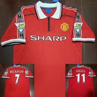 jerseys nombres al por mayor-Manchester United Velvet Nombre Número 98 99 Hombre Beckham Keane Solskjaer Giggs 3 Champions Retro UTD Camiseta de fútbol 1998 1999 Classic Football Shirt Camiseta