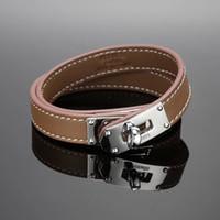 gewebtes silbernes armband für männer großhandel-Leinwandbindung Design aus echtem Leder Armband mit H Niete in vielen Farben Einstellbare Größe CDC Armband für Frauen und Männer Modeschmuck wir