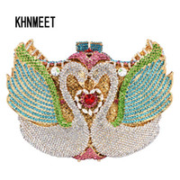 Wholesale Bronze Bling - New ! rainbow Swan shape Clutch bag women evening bag Luxury rainbow crystal clutch evening bags Bling Purse wedding SC041
