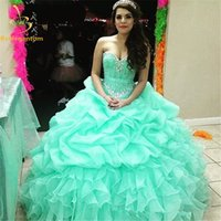 Wholesale Sexy Dresses For New Years - 2017 New In Stock Ball Gown Cheap Quinceanera Dresses Organza With Beads Sequined Sweet 16 Dress For 15 Years Debutante Gown
