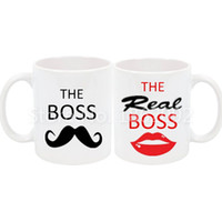 Wholesale Moustache Lips - Funny The Boss The Real Boss Mug Set Novelty His Her Couple Coffee Cup Set White Ceramic Moustache Lip Wedding Valentine Gifts