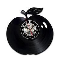 vinyl apfel groihandel-diy Geschenk für Apple Vinyl Wanduhr Obst Dekoration Liebhaber Geschenke Obst Home Decor Artwork Art Zubehör