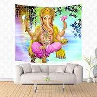 Wholesale beautiful culture - 2018 Personalized Hinduism Buddhist Culture Vintage Buddha Shiva God Beautiful Myth Style Printed Polyester Wall Tapestry Summer Beach Tow